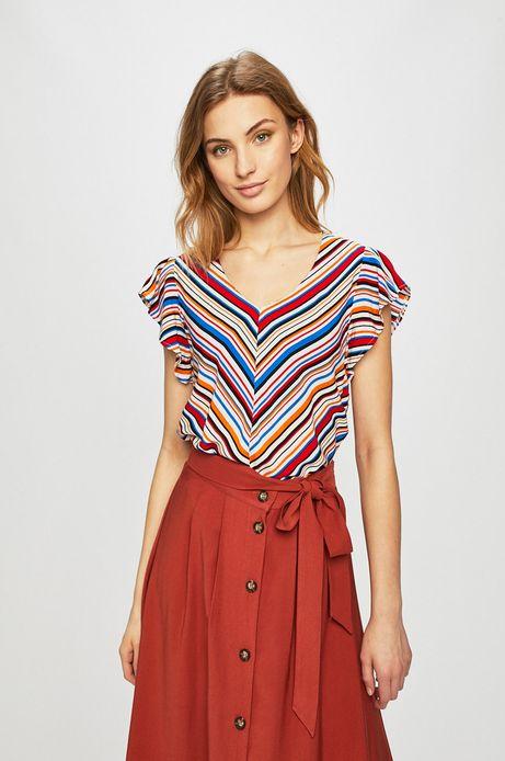 Bluzka damska z ozdobnymi rękawami w paski