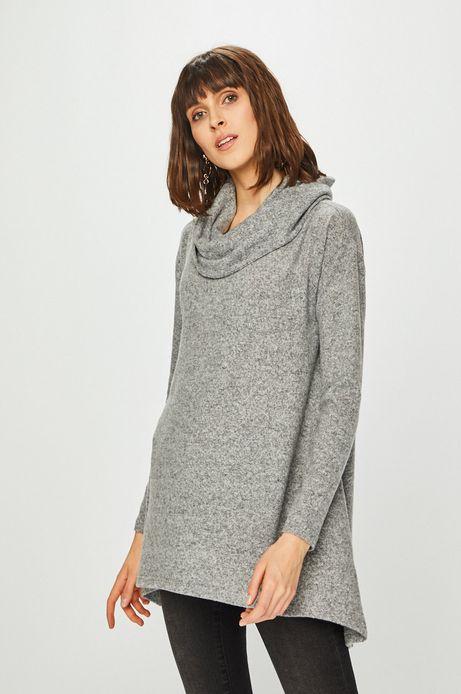 Bluza damska z luźnym golfem szara