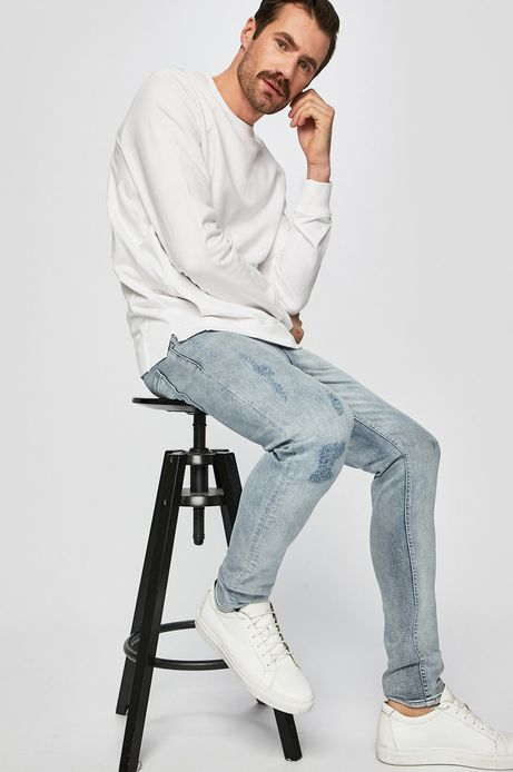 Bluza męska z wsuwanymi kieszeniami biała