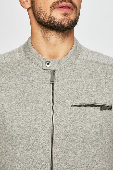 Bluza męska z ozdobnymi przeszyciami szara