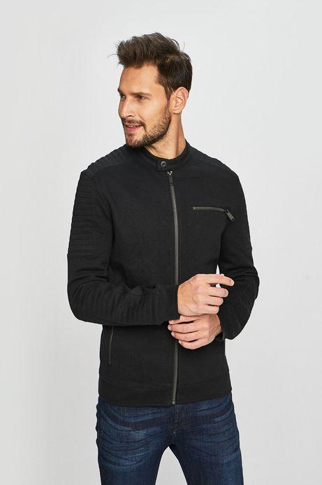 Bluza męska z ozdobnymi przeszyciami czarna