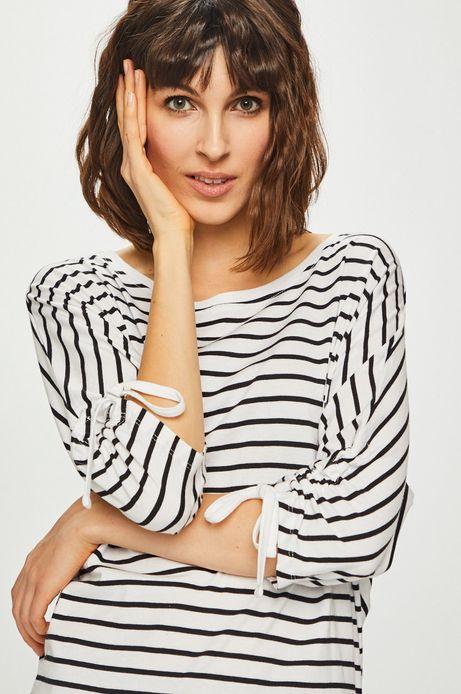 Bluzka damska z marszczonymi rękawami w paski