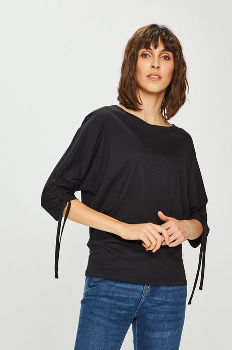 Bluzka damska z marszczonymi rękawami czarna