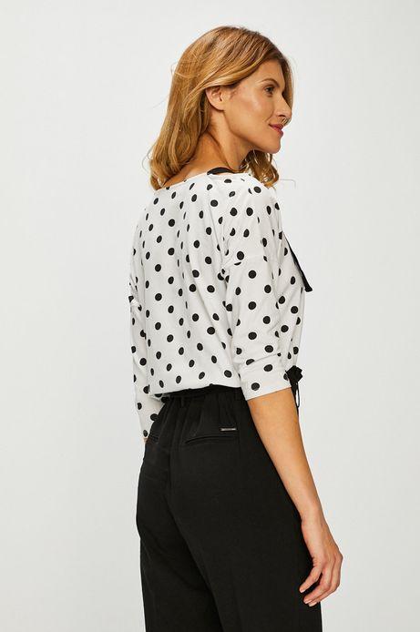 Bluzka damska z szelkami biała w grochy