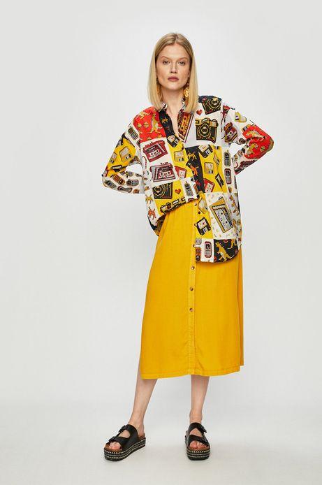 Koszula damska o obniżonej linii ramion wzorzysta
