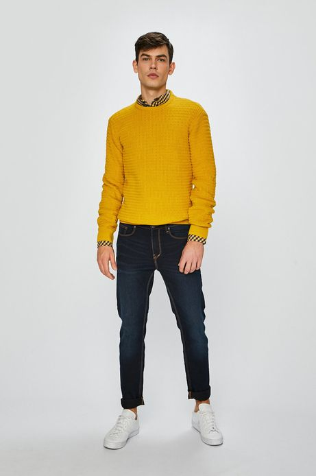 Koszula męska w kratkę żółta