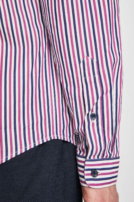 Koszula męska w paski różowa