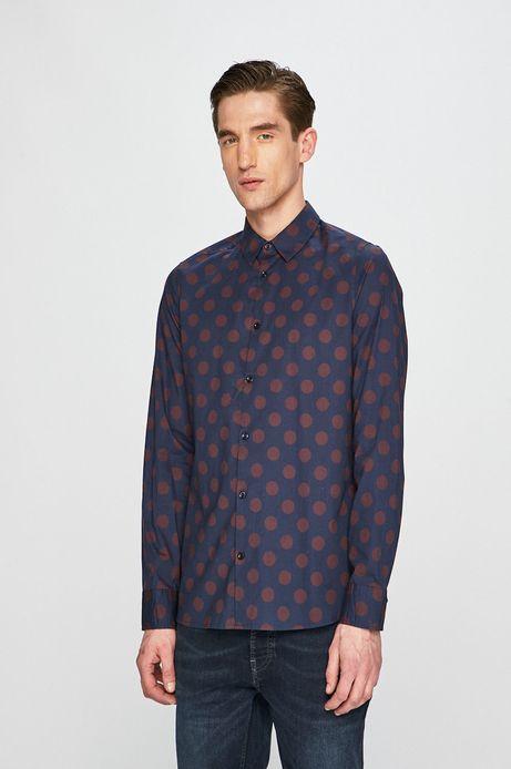 Koszula męska w grochy bordowa