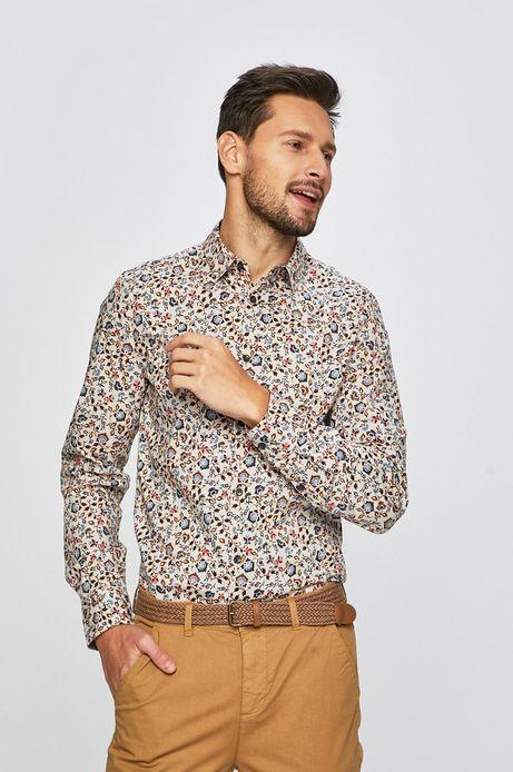Koszula męska wzorzysta beżowa