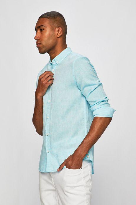 Koszula męska lniana turkusowa