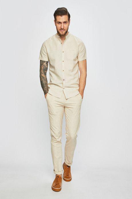 Koszula męska lniana ze stójką beżowa