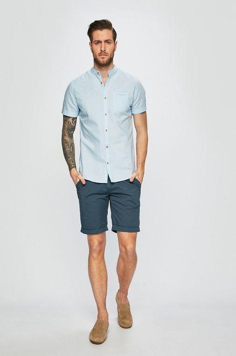 Koszula męska lniana ze stójką niebieska