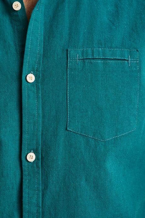 Koszula męska lniana ze stójką turkusowa
