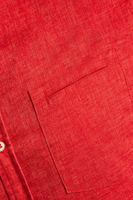 Koszula męska z domieszką lnu czerwona