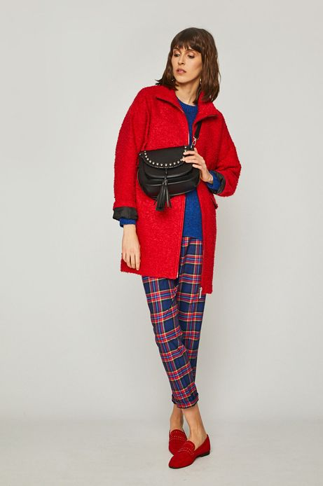 Płaszcz damski na podszewce czerwony