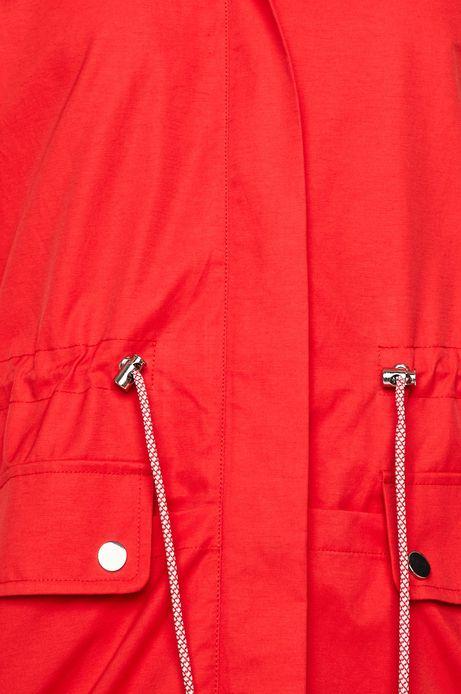 Parka damska z kapturem czerwona