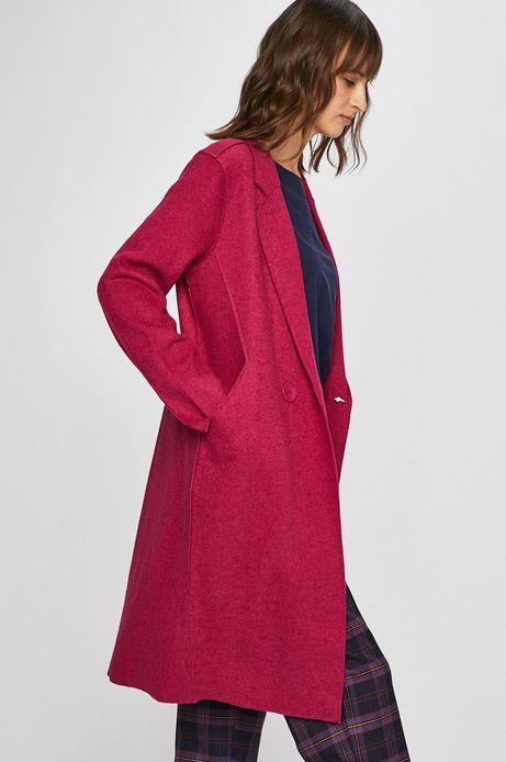 Płaszcz damski z domieszką wełny różowy