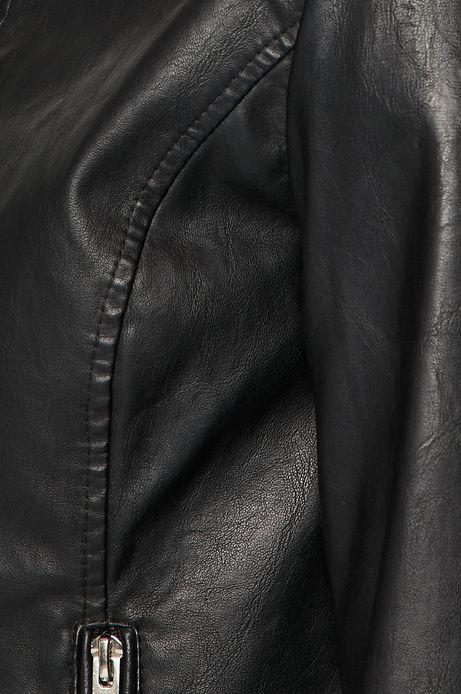 Kurtka damska ze skóry ekologicznej czarna