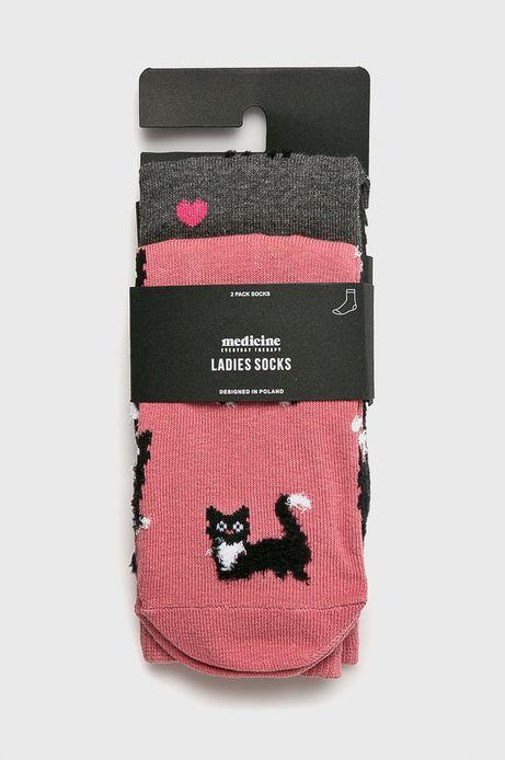 Skarpetki damskie w lamy i koty (2-pack)