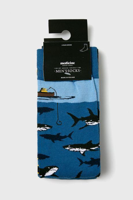 Skarpety męskie w rekiny i paski (2-pack)