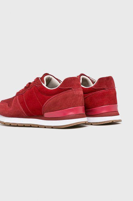 Buty damskie ze skóry zamszowej czerwone