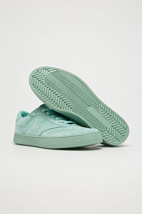 Buty damskie zielone zamszowe