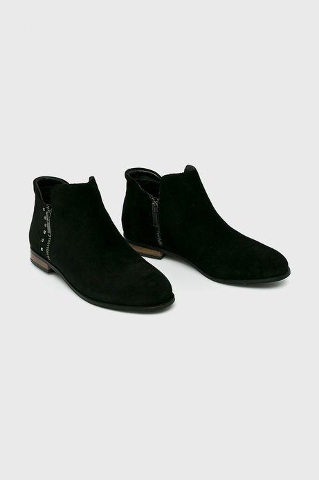Skórzane botki damskie czarne