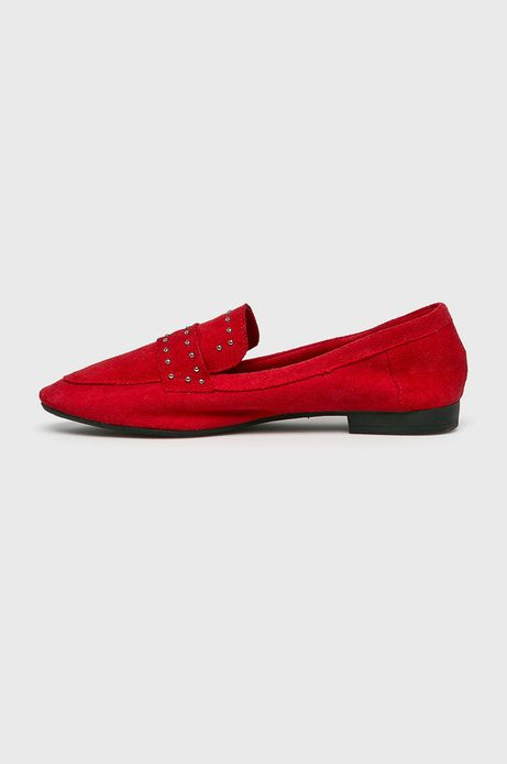 Mokasyny damskie z ozdobnymi dżetami czerwone