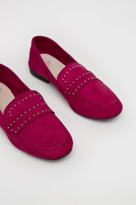 Mokasyny damskie z ozdobnymi dżetami fioletowe
