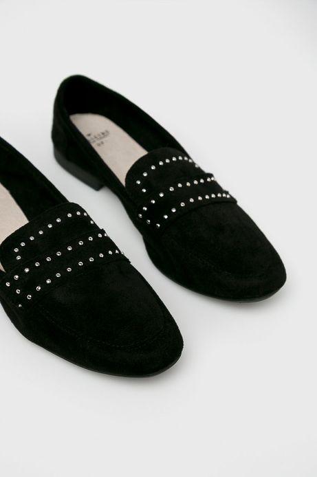 Mokasyny damskie z ozdobnymi dżetami czarne