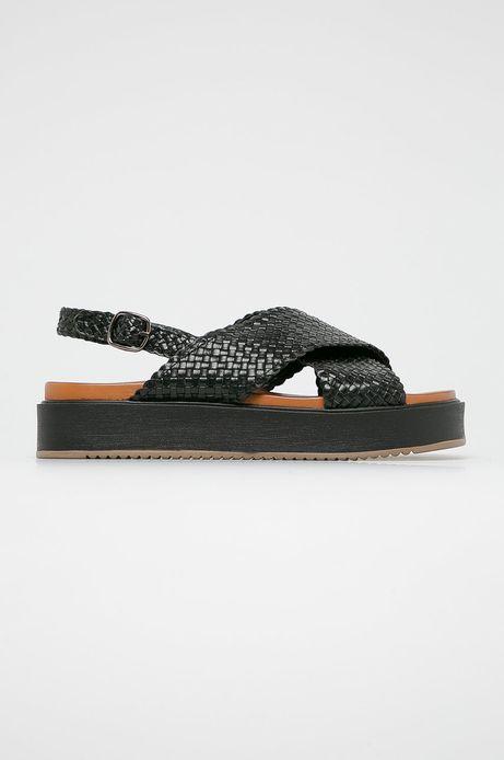 Sandały damskie skórzane czarne