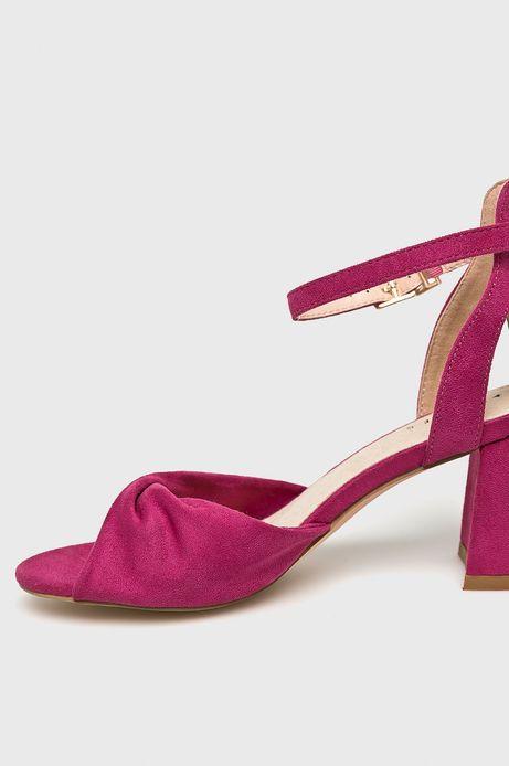 Sandały damskie na słupku różowe