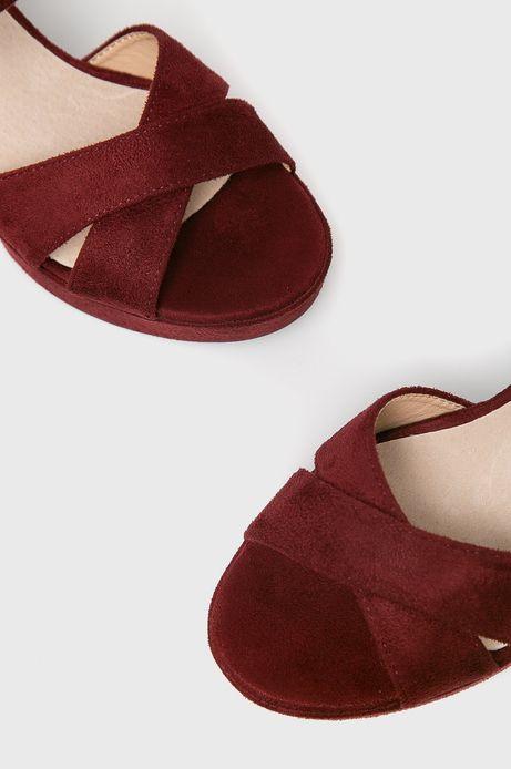 Sandały damskie na słupku bordowe
