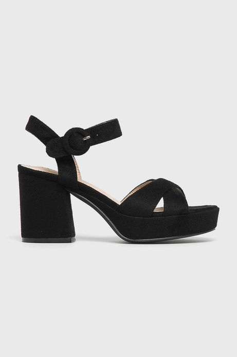 Sandały damskie na słupku czarne