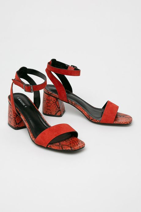 Sandały damskie na słupku z motywem zwierzęcym pomarańczowe