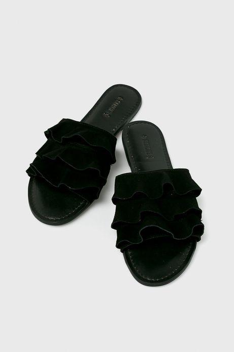 Klapki damskie skórzane czarne