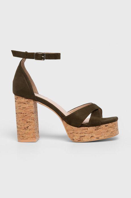 Sandały damskie na słupku zielone