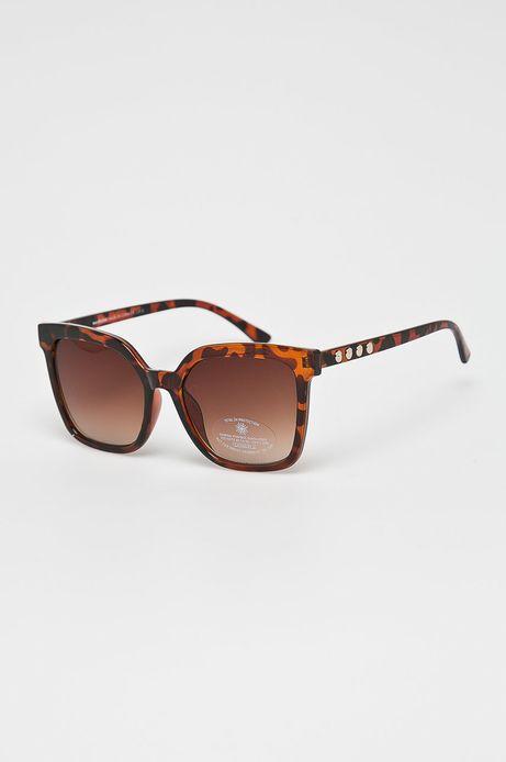 Okulary przeciwsłoneczne damskie  w kwadratowej oprawie brązowe