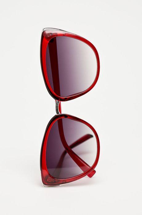 Okulary przeciwsłoneczne damskie typu kocie oczy bordowe