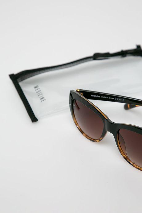 Okulary przeciwsłoneczne w prostokątnej oprawie damskie brązowe