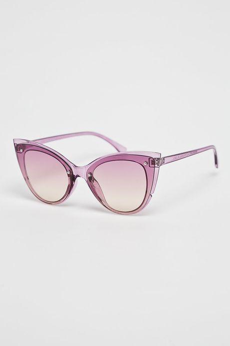 Okulary przeciwsłoneczne damskie typu kocie oczy fioletowe