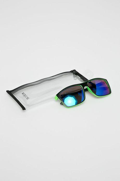 Okulary przeciwsłoneczne męskie w prostokątnej oprawie zielone