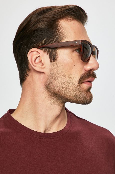 Okulary przeciwsłoneczne męskie w kwadratowej oprawie brązowe