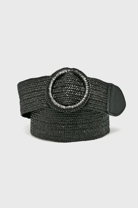 Pasek damski tekstylny czarny