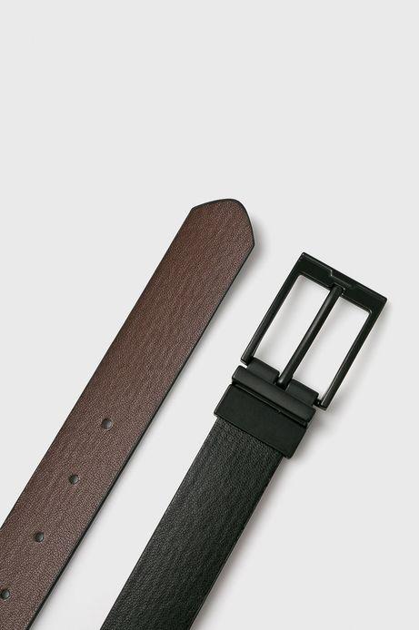 Pasek męski dwustronny czarny/brązowy