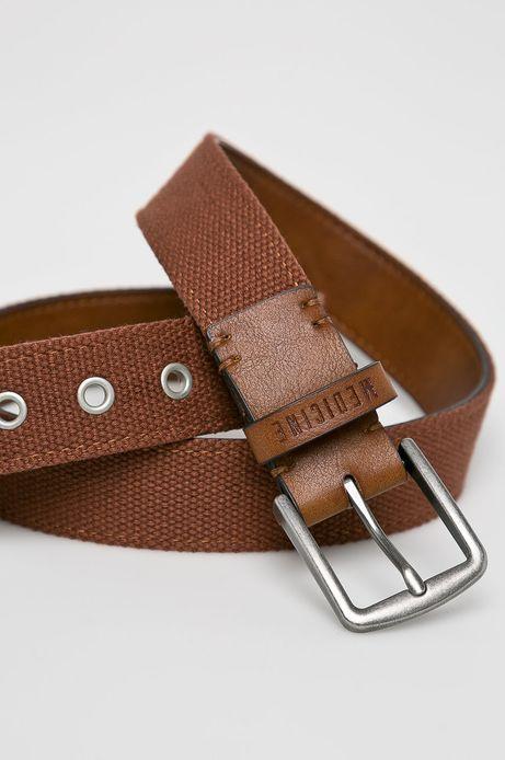 Pasek męski z materiału tekstylnego brązowy