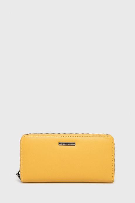 Portfel damski ze skóry ekologicznej żółty