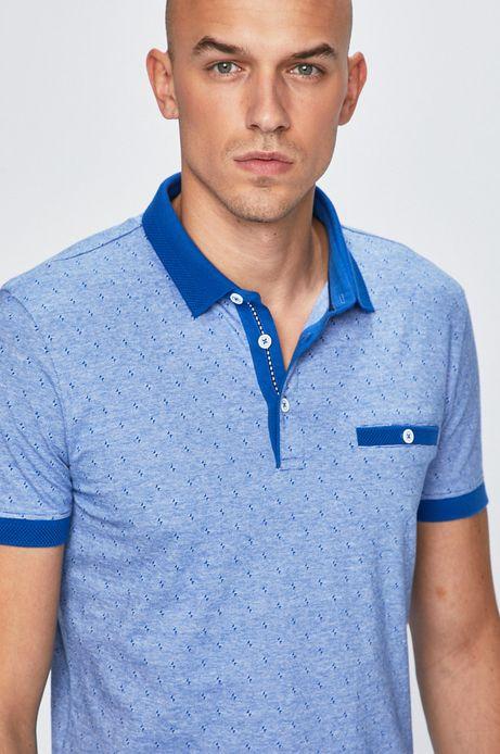 Polo męskie wzorzyste niebieskie