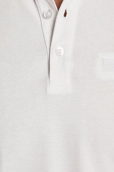 Polo męskie z gładkiej dzianiny białe