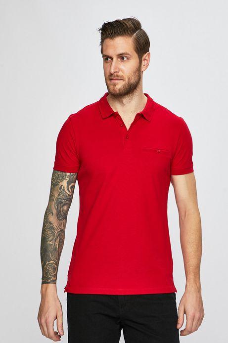 Polo męskie z gładkiej dzianiny czerwone